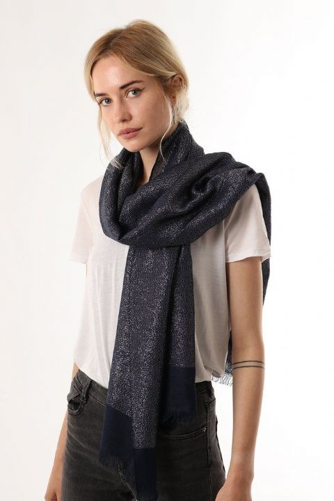 NAVY BLUE SILVER WOVEN THREAD SCARF